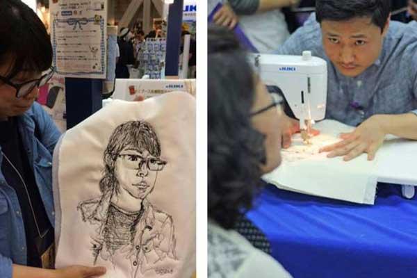 MINGI JUNG portrétűző művész, JUKI varrógép kipróbáló nyílt nap!